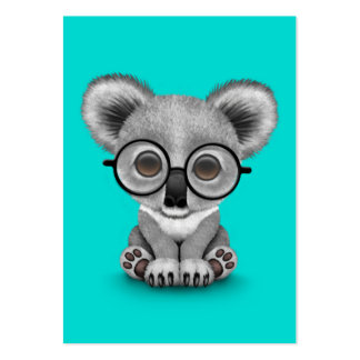 Cute Baby Koala Bear Cub Wearing Glasses on Blue Pack Of Chubby Business Cards