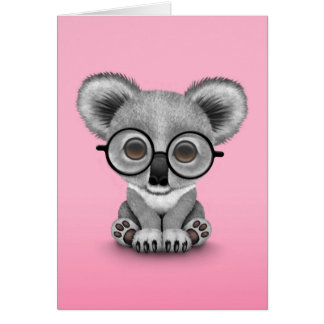 Cute Baby Koala Bear Cub Wearing Glasses on Pink Card