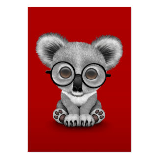 Cute Baby Koala Bear Cub Wearing Glasses on Red Pack Of Chubby Business Cards