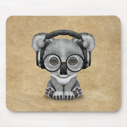 Cute Baby Koala Bear Dj Wearing Headphones Mouse Mat