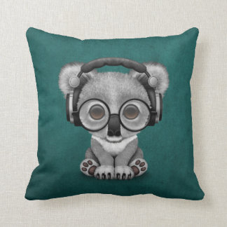 Cute Baby Koala Bear Dj Wearing Headphones on Blue Cushion
