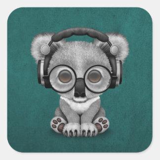 Cute Baby Koala Bear Dj Wearing Headphones on Blue Square Sticker