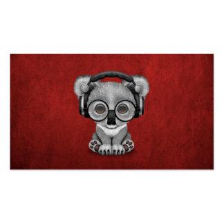 Cute Baby Koala Bear Dj Wearing Headphones on Red Pack Of Standard Business Cards