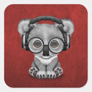 Cute Baby Koala Bear Dj Wearing Headphones on Red Square Sticker