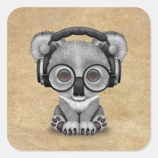 Cute Baby Koala Bear Dj Wearing Headphones Square Sticker