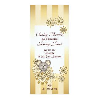 Cute Baby Koala Gold Striped Baby Shower 10 Cm X 24 Cm Invitation Card