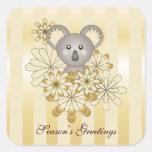 Cute Baby Koala Gold Stripes Kids Christmas Square Sticker