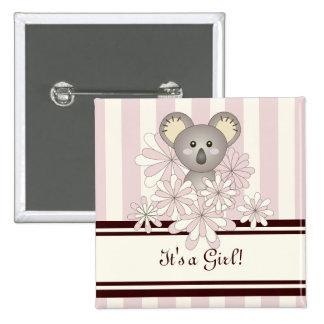 Cute Baby Koala Pastel Pink Striped Baby Shower 15 Cm Square Badge
