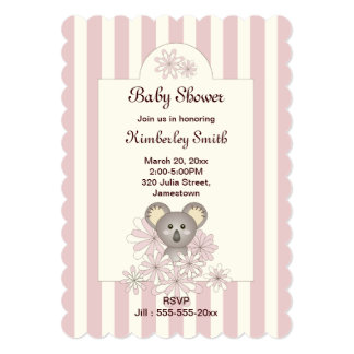Cute Baby Koala Pastel Pink Striped Baby Shower 13 Cm X 18 Cm Invitation Card