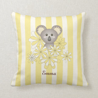 Cute Baby Koala Personalized Yellow Striped Throw Pillow