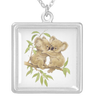 Cute Baby Koalas Silver Plated Necklace