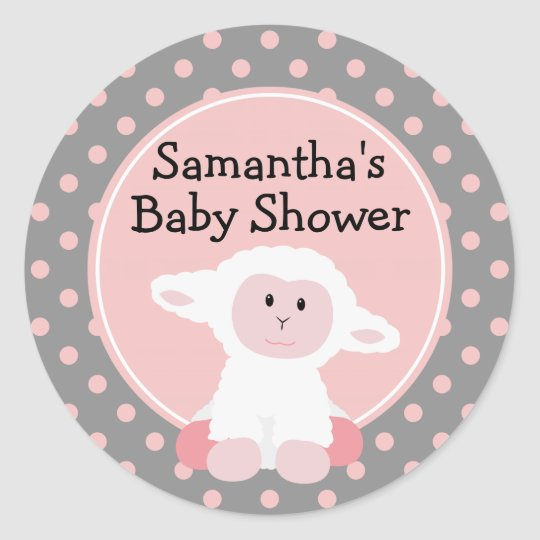 Cute Baby Lamb and Polka Dots Personalised Classic