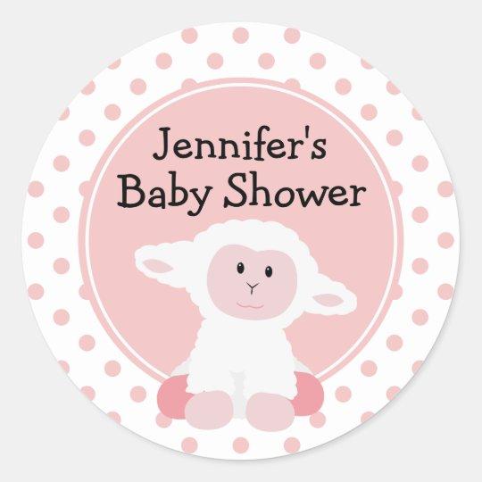 Cute Baby Lamb and Polka Dots Personalised Classic