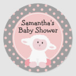 Cute Baby Lamb and Polka Dots Personalised Round Sticker