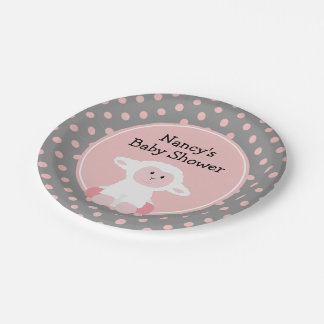 Cute Baby Lamb with Polka Dots Baby Shower Paper Plate