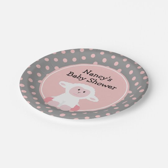 Cute Baby Lamb with Polka Dots Baby Shower
