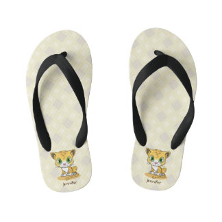 Cute baby leopard cartoon name kids slippers flip flops