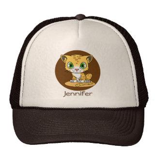 Cute baby leopard cat cartoon name hat