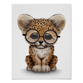 Cute Baby Leopard Cub Wearing Glasses on White Poster