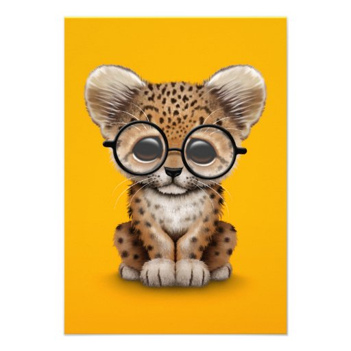 Cute Baby Leopard Cub Wearing Glasses on Yellow Personalized Invitation