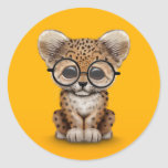 Cute Baby Leopard Cub Wearing Glasses on Yellow Classic Round Sticker