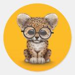 Cute Baby Leopard Cub Wearing Glasses on Yellow Sticker