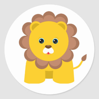 Cute Baby Lion Classic Round Sticker