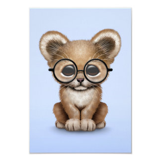 Cute Baby Lion Cub Wearing Glasses on Blue Personalized Invitation