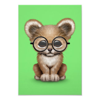 Cute Baby Lion Cub Wearing Glasses on Green 3.5x5 Paper Invitation Card