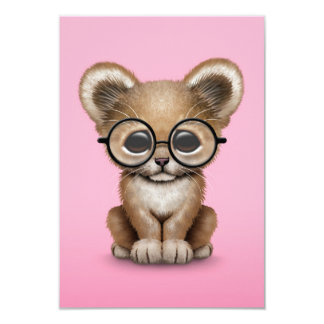 Cute Baby Lion Cub Wearing Glasses on Pink 3.5x5 Paper Invitation Card
