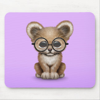 Cute Baby Lion Cub Wearing Glasses on Purple Mousepad