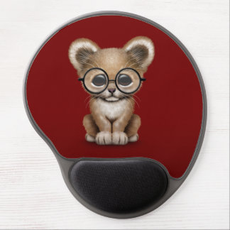 Cute Baby Lion Cub Wearing Glasses on Red Gel Mouse Pads