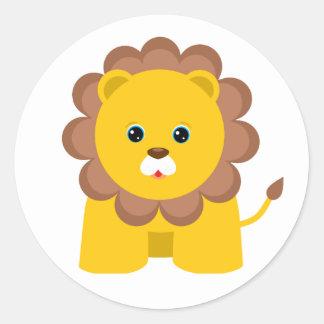 Cute Baby Lion Round Sticker