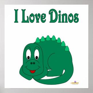 Cute Baby Lt Green Dinosaur I Love Dinos Posters
