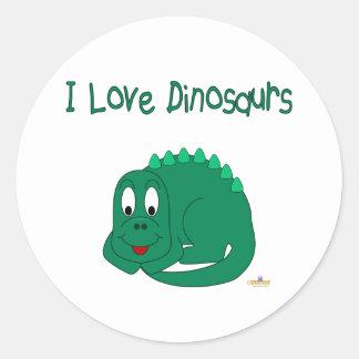 Cute Baby Lt Green Dinosaur I Love Dinosaurs Round Sticker