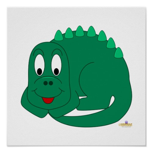 Cute Baby Lt Green Dinosaur Posters