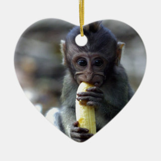 Cute baby macaque monkey eating banana christmas ornament