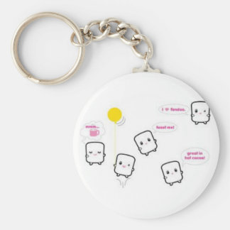 cute baby marshmallow basic round button key ring