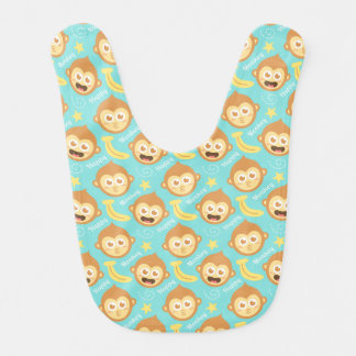Cute Baby Monkey and Bananas Baby Bib