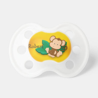 Cute Baby Monkey Brown Yellow Personalized Dummy