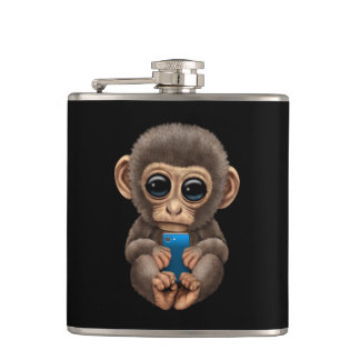 Cute Baby Monkey Holding a Cell Phone Black Hip Flask