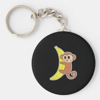cute baby monkey on banana basic round button key ring