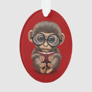 Cute Baby Monkey Reading a Book on Red