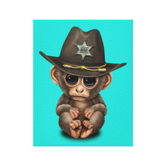 Cute Baby Monkey Sheriff Canvas Print
