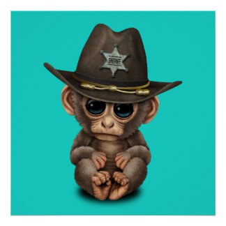 Cute Baby Monkey Sheriff Poster