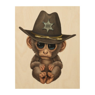 Cute Baby Monkey Sheriff Wood Prints