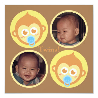 """Cute Baby Monkey Twins with Photo Personalisation 5.25"""" Square Invitation Card"""