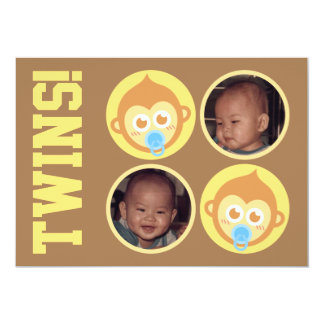 "Cute Baby Monkey Twins with Photo Personalisation 5"" X 7"" Invitation Card"
