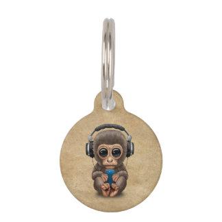 Cute Baby Monkey Wearing Headphones Pet Tag