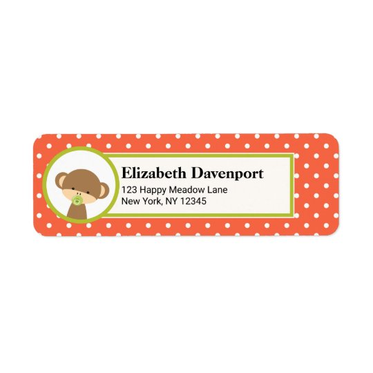 Cute Baby Monkey with a Pacifier on Polka Dots Return Address Label